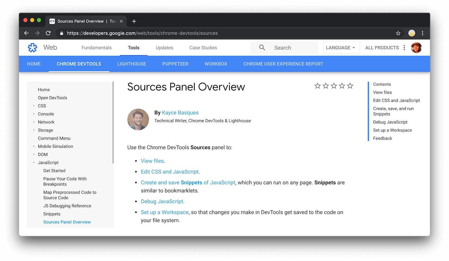 An overview of the Sources panel.